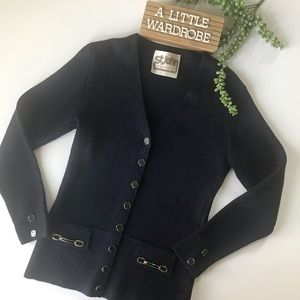 St John Vintage Navy Blue Button Cardigan